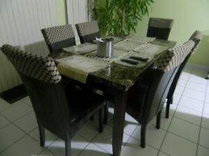 6 chair dining table - marble top