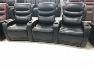 electric recliner for 3 chairs in row with storage console cup h