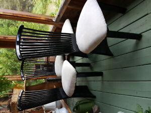 Four Black Lacquered Wood Dinning Room Chairs
