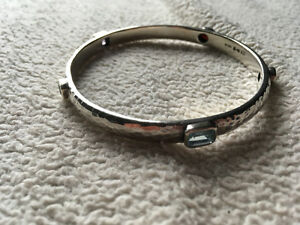RARE Silpada Hammered Sterling and Gemstone Bangle