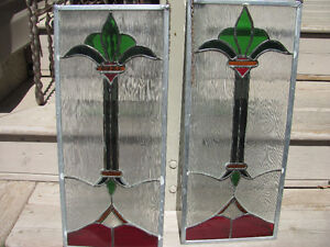 PAIR OF STAINED GLASS WINDOW PANELS