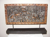 Relief wood carving plaque..
