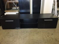 Black with 2 Black Gloss Door TV Unit Cabinet With Glass Shelf and LED Light