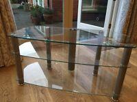 Glass TV corner unit with three shelves