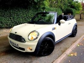 **STUNNER** 2009 MINI COOPER 1.6 PETROL CONVERTIBLE WHITE BLACK MANUAL 3 DOOR