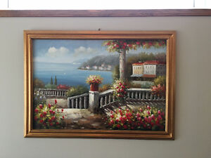 LARGE GORGEOUS Hand Painted Oil Painting FRAMED - Antique 6