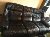 Black 3 and 2 seater genuine leather sofa £30 must go today