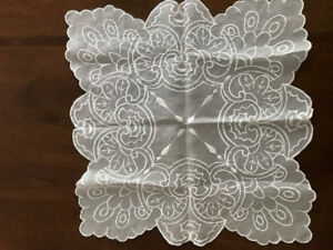 "Handmade Lace Table Doily Square shape 18"" x 18"""