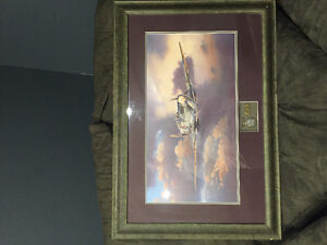 WW2 framed Spitfire picture with Canadian medals