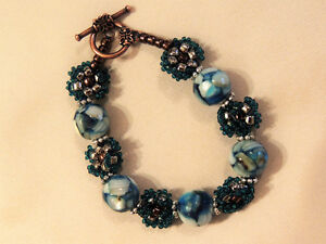 Mother of Pearl and Blue Resin, Handmade Seed Bead Bracelet