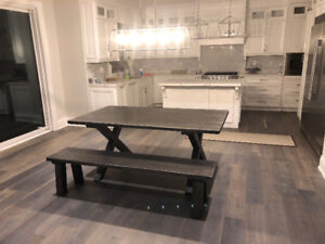 New REAL Barn Wood Reclaimed Harvest Kitchen Dining Table
