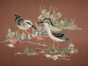 BEAUTIFUL HAND-CRAFTED FRAMED WALL HANGING...THE SANDPIPERS