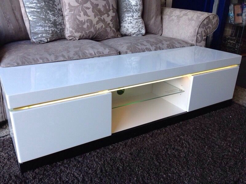 New White High Gloss Tv Unit With Led Lights