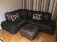 Black Leather Corner sofa & footstool