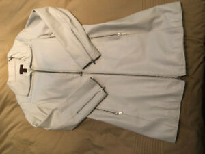Women's white leather 3/4 length jacket with liner - size 8-10