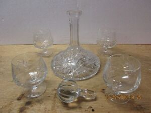 Crystal brandy carafe and 4 matching snifters London Ontario image 2