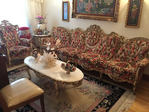 Victorian sofa set with marble tables