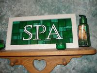 Spa Stained Glass Framed Sign For Sale