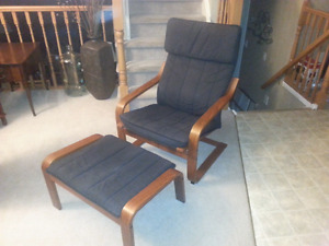 Beautiful solid wood chair with ottoman