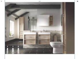 600mm Alessano grey and white bathroom storage mirror