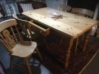 PINE TABLE AND FOUR CHAIRS WITH LICAL DELIVERY FOR FUEL