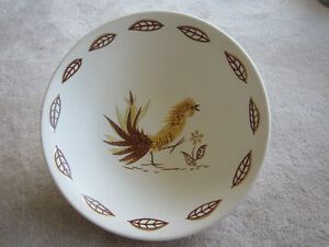 Gene Frank Rooster Pattern Pottery Bowl - RARE