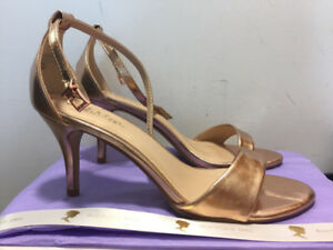 Beautiful Boutique Rose Gold Strappy Heels with heel | Size 9