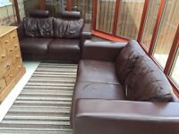 Leather Brown (2) sofas two seater.
