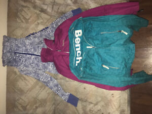 Two Bench Jackets and hoodie Size small
