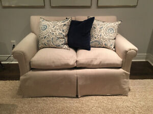 2 Matching Linen Loveseat Couch cream beige ivory