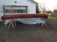 ANTIQUE  16' RIBLESS CEDAR STRIP CANOE