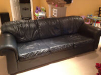 Oversized Black Leather Couch