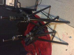 Pair of Yorkville speaker stands with gig bag carrying  case.