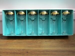 Six Hock Long Stem Glasses Dema Vintage Made in England New
