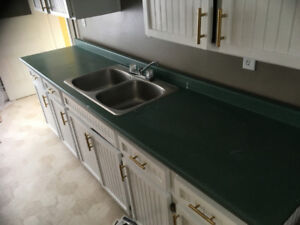 Green Countertop with Stainless Steel Sink