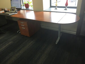 Ikea desk and filing cabinet on casters