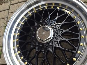 "NEW 17"" BBS RS reps(5x100/114)–Black+ Polished lip+ Gold Rivets"