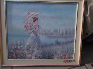 OIL PAINTING - L. GUS. - Woman by Lake - In Frame