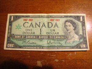 Canadian Confederation 1967 Paper Dollar Bills