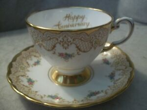Vintage Tuscan China  Happy Anniversary  cup and saucer