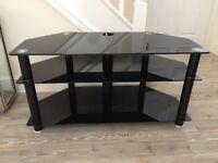 large glass black TV unit - toughened glass