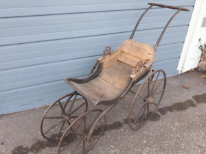 ANTIQUE PRE 1900 BABY CARRIAGE ALL WOOD $155.