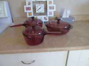 Set of 3 Corning Visions Cranberry Glass Cookware