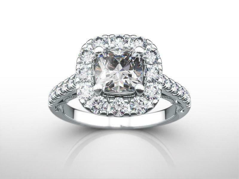 Diamond Ring Halo Set Ladies 2.25 Carats Vs1 14k White Gold Solitaire W Accents