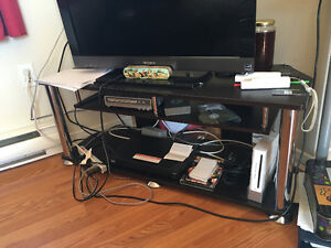 Black and stainless steel tv stand 40 obo