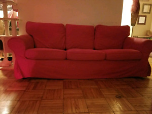 Red Ikea Ektorp 3 seater Sofa Couch