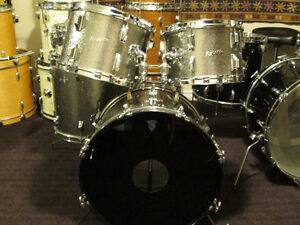Rogers Maple 5 pc. Drum Kit. with Rogers Super Ten snare. silver