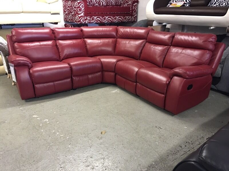 Laz E Boy Zara Red Leather Corner Sofa And Armchair Lazy