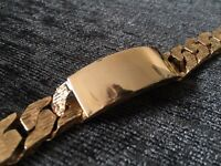Heavy 9ct solid yellow gold bark effect curb effect ID bracelet 109g
