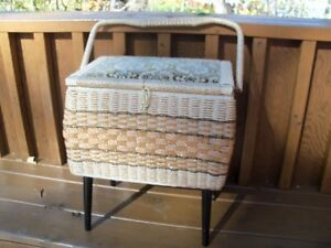Vintage Mid Century Singer Sewing Basket with Legs!